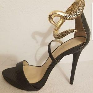 Bebe Black Stilettos with Gold Snake Anklet